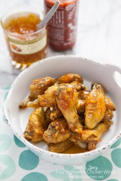 Sweet & Spicy Four Ingredient Chicken Wings