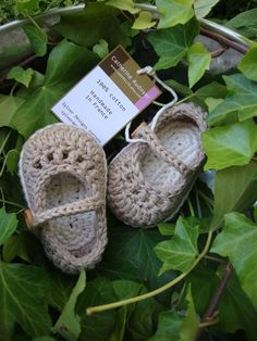 Crocheted Baby booties  mary janes coffee and by prettylittleshoes