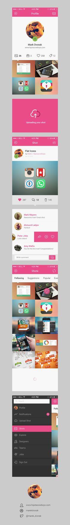 dribbbl app, mobil ui, free dribbbl, profil design, app concept