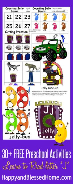 FREE printables, 60 pages and 30+ Preschool Activities from our Learn to Read Preschool Alphabet Letter J on www.HappyandBlessedHome.com