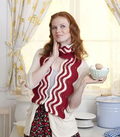 Makin' Bacon Scarf  Oh gees... This work really nicely in other colors.  Stitch n' Bitch is probably my favorite supplier of patterns and tips. (Found at www.stitchnationy..., by Linda Cyr c/o Debbie Stoller).