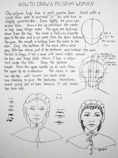 How to Draw a Pilgrim Woman; See the lesson at my blog http://drawinglessonsfortheyoungartist.blogspot.com/2012/11/how-to-draw-pilgrim-woman.html