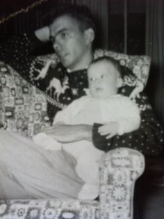 This is my Dad and me - his name was Freeman but everyone called him Bix. I remember the sweater well - he must of worn it for years! This pin board is named after him! www.DebBixler.com sweater well, pin board