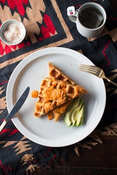 Aged White Cheddar Waffles in a Creamy Tomato Orange Sauce | Flourishing Foodie