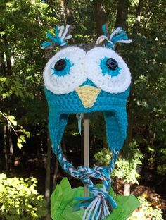 Owl Ear Flap Hat ... Turquoise Blue and by sweetpeacollections, $20.00