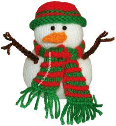 Aprende a tejer este Hombre de nieves (Frosty) en dos agujas o palillos (tricot)