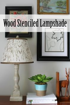 Wood Stenciled Lampshade Tutorial from At Home on the Bay - learn how to make this faux bois lampshade  #plaidcrafts
