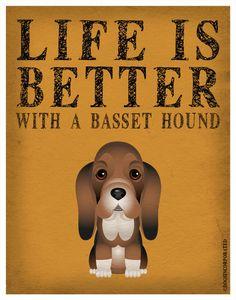 Life is Better with a Basset Hound Art Print 11x14 - Custom Dog Print. $29.00, via Etsy.