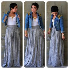 OOTD: DIY Maxi Skirt   Denim DIY Studded Jacket  ***A dirndl in a light fluid knit can be similar enough to an a-line maxi