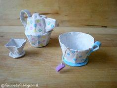 #egg #cardboard Faccio e Disfo: Giochi fai-da-te: il tea set con i cartoni delle uova