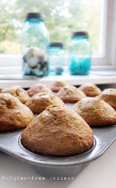 Karina's light and flavorful gluten-free banana muffins. Dairy-free, too.