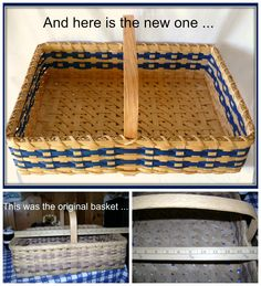 I was contacted by a customer to replace an old basket her mother had.  She chose a Cobalt Blue for the new basket's accent.