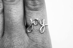 Joy Ring - Silver Wire Ring - Word Ring - Cursive Ring - Dainty Jewelry - Name Ring - Wedding Jewelry on Etsy, $7.00