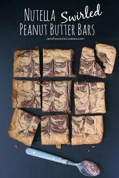 Nutella Swirled Peanut Butter Bars from Jen's Favorite Cookies