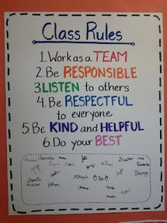 Class Rules...come up with the classroom rules together, then have them all sign it at the end