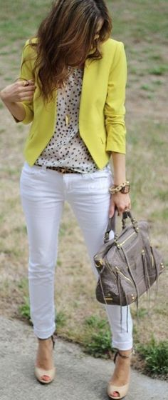 White skinny jeans & black and white polka dot top, yellow blazer, spring outfit