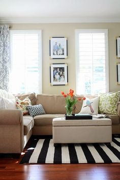 A bold stripe can immediately change the whole look of a space. This one was a steal from HomeGoods and was just what the room needed. Be sure to shop the rugs that are folded up on the shelf! There are hidden treasures there.