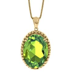 Large Oval Peridot Gemstone Diamond Pendant In Yellow Gold Available Exclusively at Gemologica.com