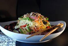 Beef Soba Noodle Salad with mango ginger dressing.
