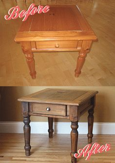 """""""weathered wood"""" - use gel varnish remover to strip """"most"""" varnish, sand unevenly (more for darker areas), clean w/cheesecloth, apply 2-3 coast of dark walnut stain, let dry, spray w/clear satin polyurethane"""