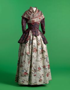 A late 18th century Indian chintz jacket and shawl, paired with a European skirt in glazed printed cotton.