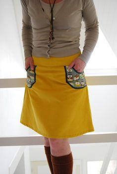 Hipskirt Women Yellow Corduroy and Owls