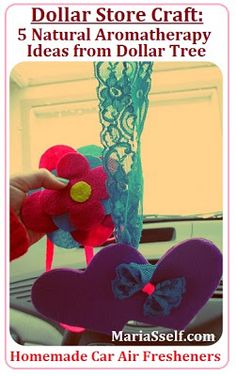 Dollar Store Craft: Homemade Natural Aromatherapy Ideas with Products from Dollar Tree - DIY Felt Car Air Freshener