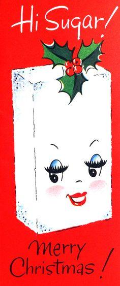 christmas cards, christma card, vintage christmas, vintag christma, vintage holiday, sugar cubes, christma vintag, merri christma, vintage cards