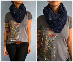 Blue Wrap Around Infinity Scarf Handmade From Recycled Fabric Diamonds and Polka Dots Hipster.