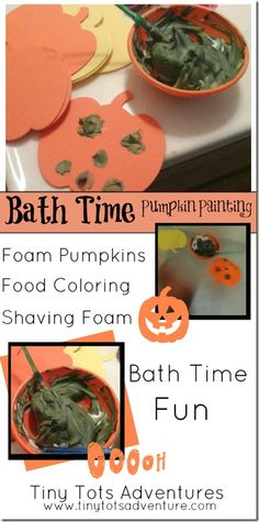 Bath Time Pumpkin Painting from Tiny Tots Adventures
