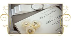 Beautiful Rosettes on this Couture Invitation- Chin Chin Papers