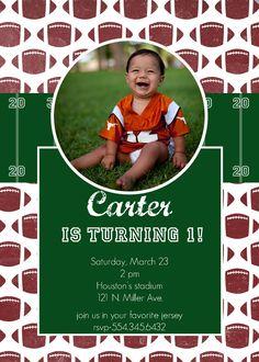 Football Birthday Party Invitation-2. $15.00, via Etsy.