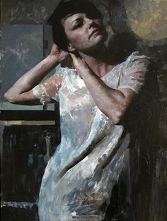 """A Study of Susan"" - Hollis Dunlap, b. 1977 {contemporary figurative artist female standing woman painting}"