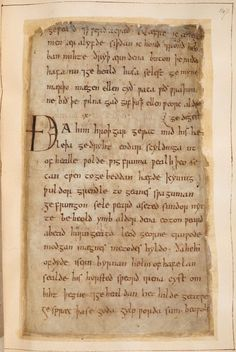 "The opening words of Beowulf, beginning ""Hwæt"" (""Listen!""): The manuscript of Beowulf, the greatest poem in the Old English language, can now be viewed online for the first time. Made around the year 1000, most likely during the reign of King Æthelred the Unready (978-1016), this manuscript committed to parchment a tale that (in some modern scholars' opinions) had been passed down for centuries, between generations of storytellers."