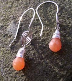Pink - Peach Moonstone & Sterling Silver earrings £23.00