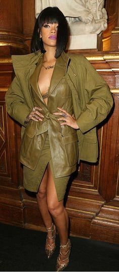 Rihanna's Balmain Fall 2014 Fashion Show Balmain Pre-Fall 2014 Army Green Cargo Coat, Leather Tie Front Jacket, And Wrap Skirt