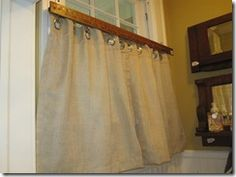 Valance made out of yardstick and metal grommets…