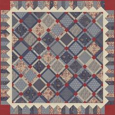 """Romani Bleu quilt pattern being debuted at 2014 Spring Market. Features new fabric line by French General """"Rue Indiennes""""."""