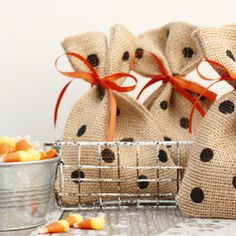 Super fun and festive! Polka dotted burlap treat bags.