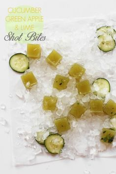 Cucumber Apple Lime and Gin Shot Bites / homemade jell-o shots! / joy the baker