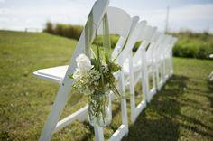 Ceremony Mason Jar Aisle Flowers via HeirloomMagazine.com   Country Farm DIY wedding by Tanis Katie Photography