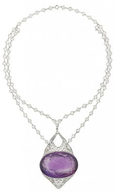 Belle Époque diamond and amethyst cameo necklace.