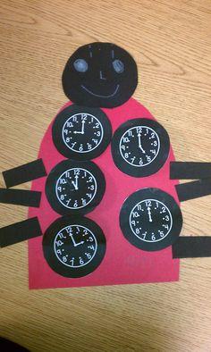"The Very Grouchy Ladybug- Eric Carle  Time Ladybug- Students write digital time under clock ""spots""."