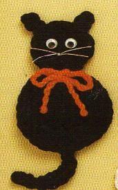 cat pattern, magnet pattern, crochet cat applique, black cats, cat magnet, crochet patterns, halloween cat