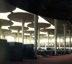 """""""The great work room"""" of  the Johnson Wax Headquarters in Racine, Wisconsin!!!  Designed by Frank Lloyd Wright constructed from 1936 to 1939"""