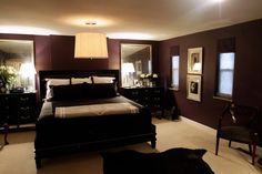 Amazing dark plum bedroom.