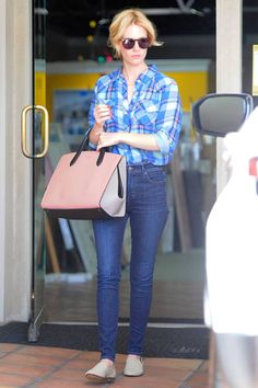 Is that January Jones in flats? Love the plaid shirt.