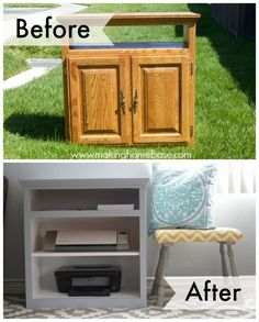Create a cabinet to store printers and cutting machines for your craft room from a flea market television cart. #chalkyfinish