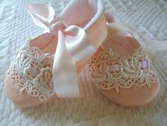 "Pink Silk  ""Olivia Rose"" Baby Shoes, Handmade!"