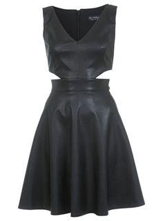 Miss Selfridge Leather Effect Cut Out Dress